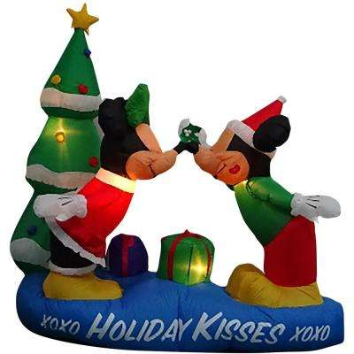 w pre lit led inflatable mickey and minnie with mistletoe airblown scene - Huge Inflatable Christmas Decorations