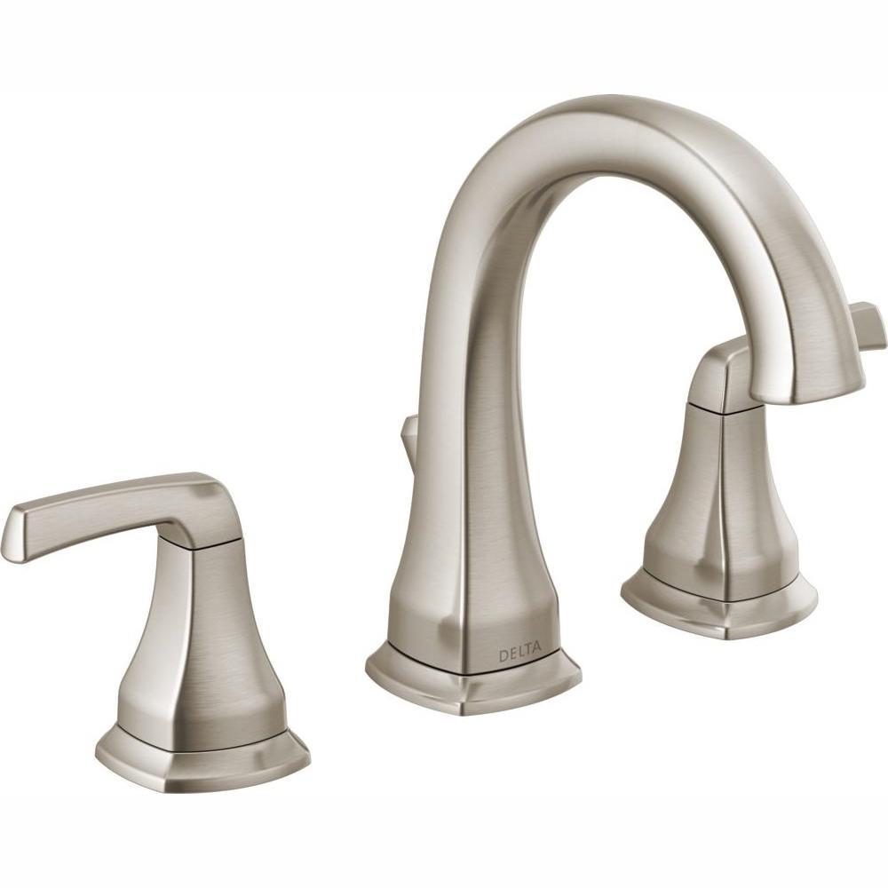 Delta Portwood 8 in. Widespread 2-Handle Bathroom Faucet in SpotShield  Brushed Nickel