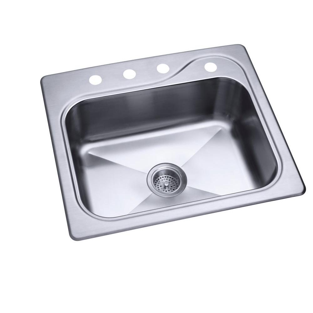 STERLING Southhaven Stainless Steel 22x25x8 4-Hole Single Basin Kitchen Sink