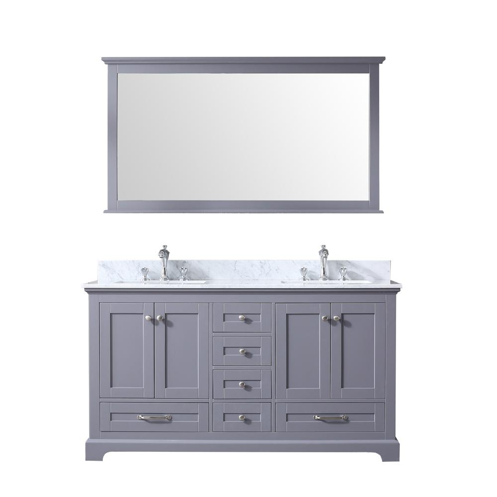 Lexora Dukes 60 in. Double Bath Vanity in Dark Grey w/ White Carrera Marble Top w/ White Square Sinks and 58 in. Mirror