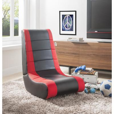 Rockme Black/Red PU Leather Folding Game Chair