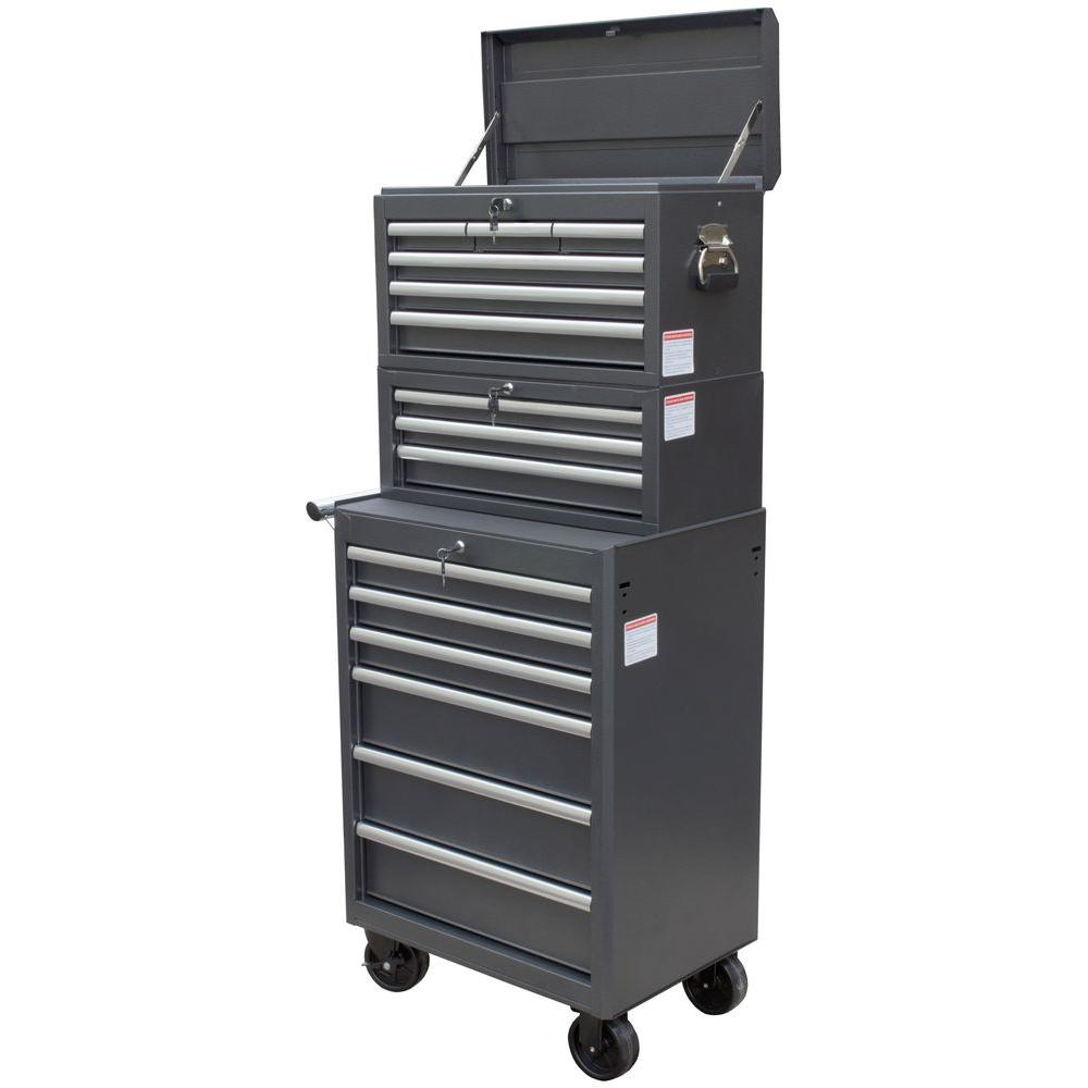WEN 26 in. 15-Drawer Tool Chest and Cabinet Combo, Black (3-Piece ...