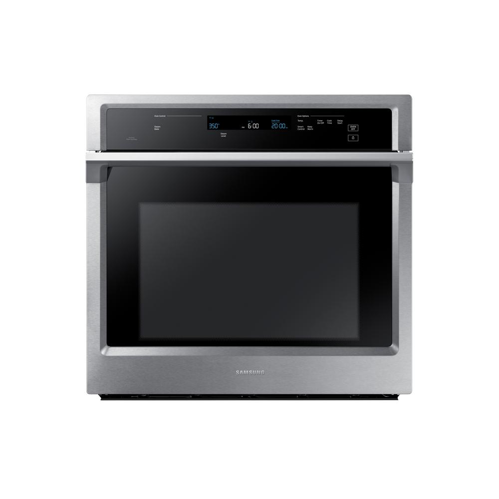 samsung 30 in single electric wall oven self cleaning with dual convection in stainless. Black Bedroom Furniture Sets. Home Design Ideas