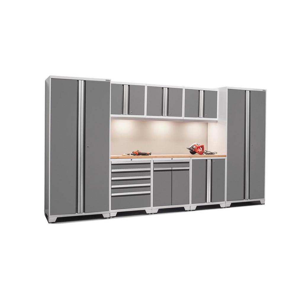 Pro 3.0 85 in. H x 156 in. W x 24 in. D 18-Gauge Welded Steel Bamboo Worktop Cabinet Set (9-Piece)