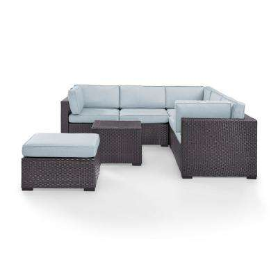 Biscayne 5-Piece Wicker Outdoor Seating Set with Mist Cushions