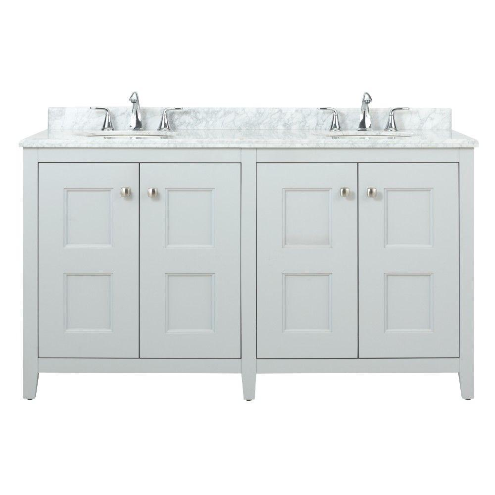 Union Square 60 in. W Vanity in Dove Grey with Natural