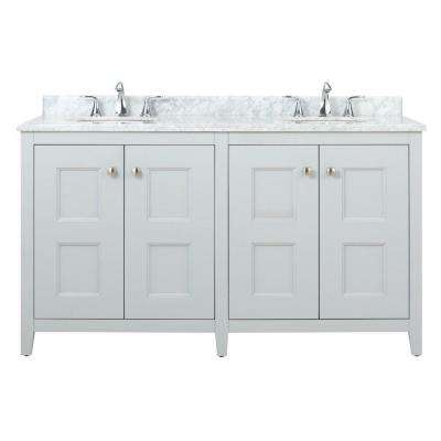 Union Square 60 in. W Vanity in Dove Grey with Natural Marble Vanity Top in Grey and White with White Basin