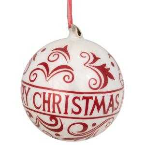 6 in. Red and White Merry Christmas Glass Ball Ornament with Red Ribbon