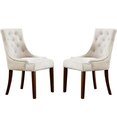 CREAM Velvet Dining Chair Upholstered Leisure Padded Chair with Nailhead (Set of 2)