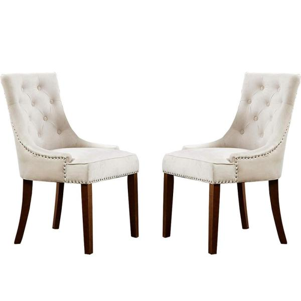 Beige-A Accent Dining Chair Tufted Fabric Nailheads Trim Solid Wood Set