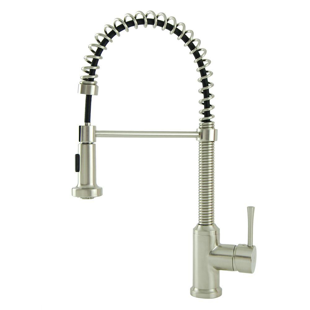 Residential Single Handle Spring Coil Pull Down Sprayer Kitchen Faucet In Brushed Nickel