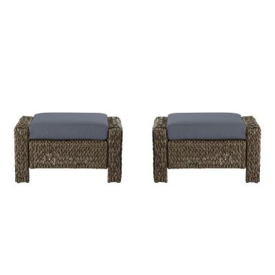 Laguna Point Brown Wicker Outdoor Patio Ottoman with CushionGuard Steel Blue Cushions (2-Pack)