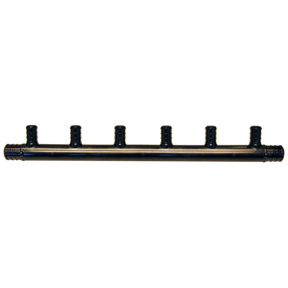 3/4 in. Barb Inlets x 1/2 in. Barb 6-Port PEX Open