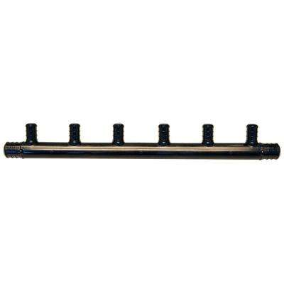 3/4 in. Barb Inlets x 1/2 in. Barb 6-Port PEX Open Plastic Manifold