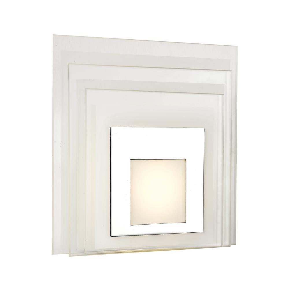 Transglobe Polished Chrome LED Wall Sconce with White Acrylic Shade-LED-30002 PC - The Home Depot
