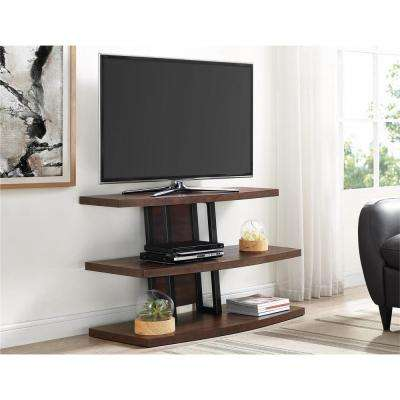 55 in. Castling Espresso and Black TV Stand