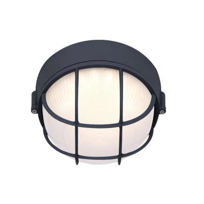 1-Light Black LED Outdoor Flush Mount Light with Frosted Glass