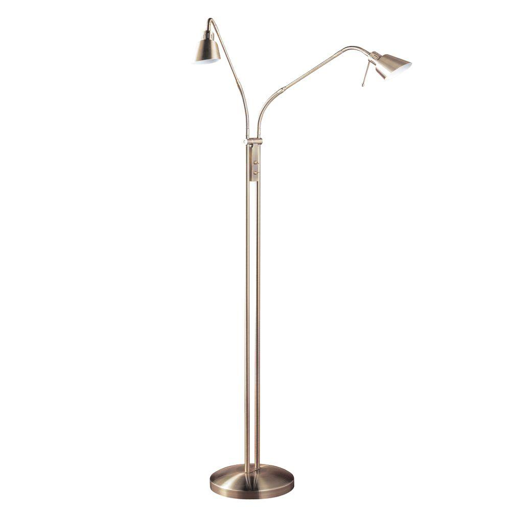 2 Light Antique Brass Halogen Floor Lamp