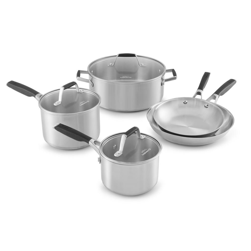 Calphalon Select 8-Piece Stainless Steel Cookware Set, Si...