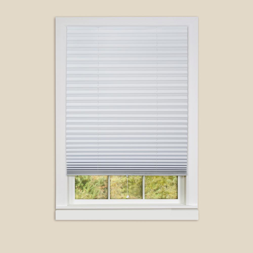 1-2-3 White Vinyl Room Darkening Window Pleated Shade - 36 in. W x 75 in. L