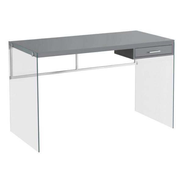 48 in. Gray Rectangular 1 -Drawer Writing Desk with Glass Stand