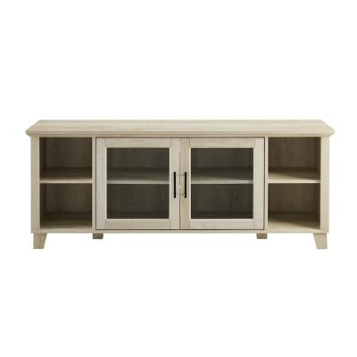 Columbus White Oak TV Stand with Middle Doors