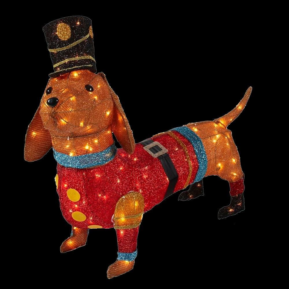 pre lit tinsel dachshund dog in soldier uniform - Dog Christmas Lights