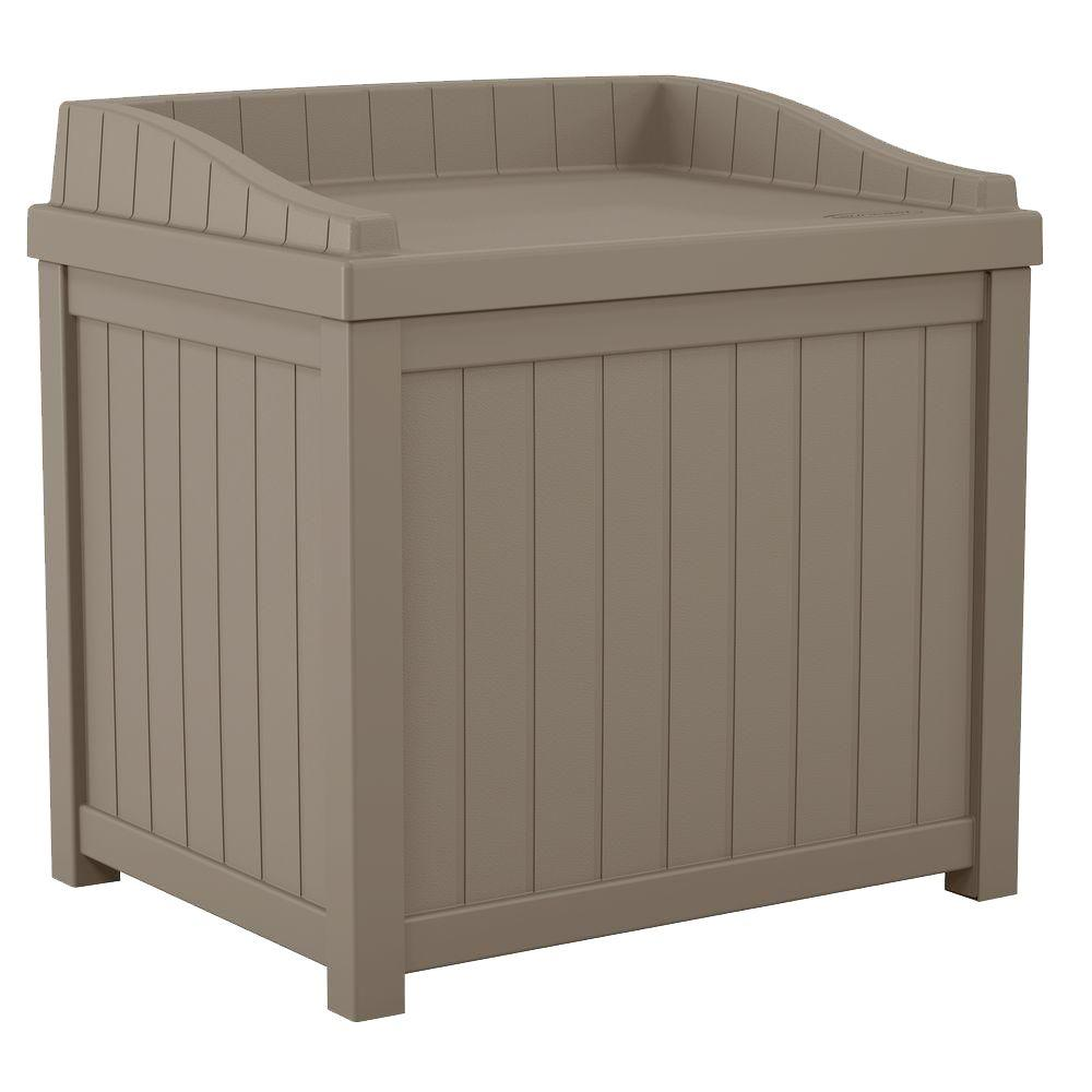 Suncast 22 Gal Taupe Small Storage Seat Deck Box SSDTD The
