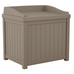 Deal for Suncast 22 Gal. Taupe Small Storage Seat Deck Box for 29.99