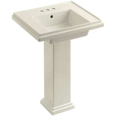 Tresham Ceramic Pedestal Combo Bathroom Sink with 4 in. Centers in Biscuit with Overflow Drain