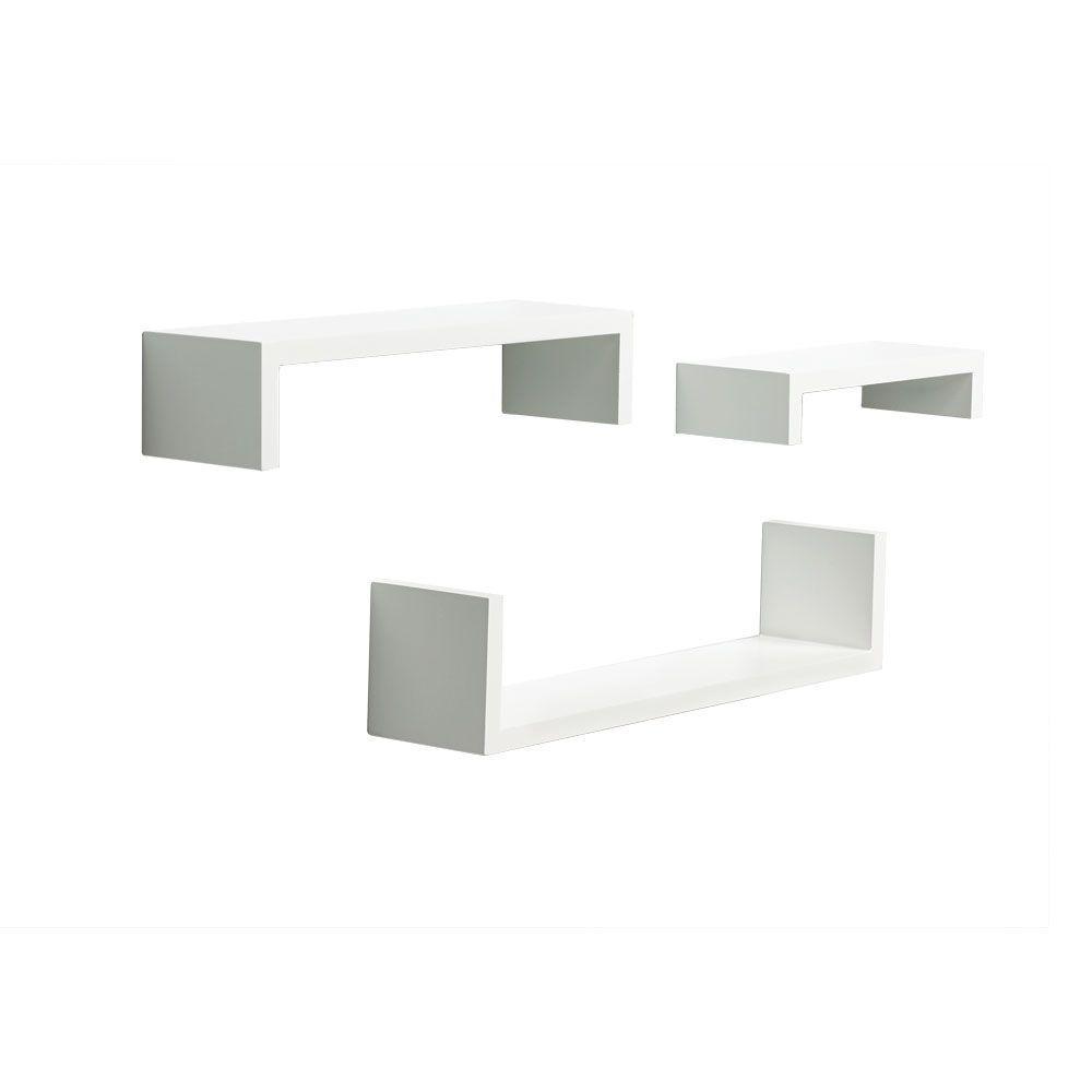 4 in. x 18 in. Floating White Ledge Set Decorative Shelf