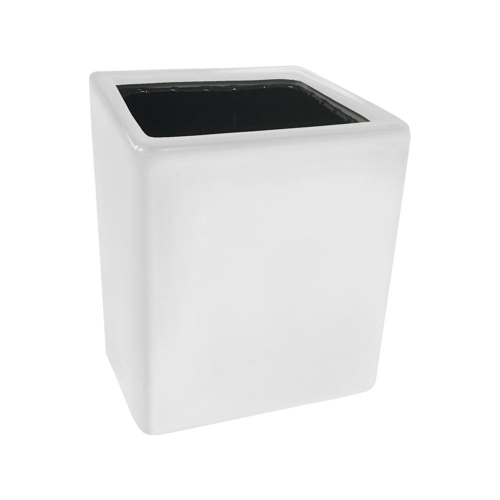 Cube 3 1/2 in. x 4 in. White Ceramic Wall Planter