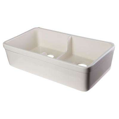 Short Wall Lip Farmhouse Apron Fireclay 32 in. Double Basin Kitchen Sink in Biscuit