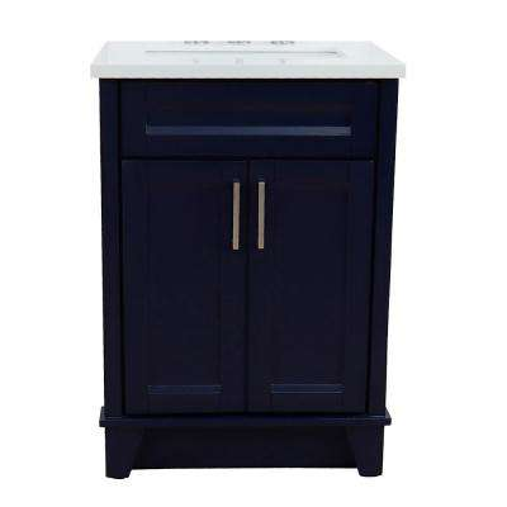25 in. W x 22 in. D Single Bath Vanity in Blue with Quartz Vanity Top in White with White Rectangle Basin