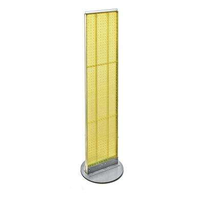 60 in. H x 13.5 in. W Styrene Pegboard Floor Display with Revolving Wheeled Base in Yellow (2-Piece)
