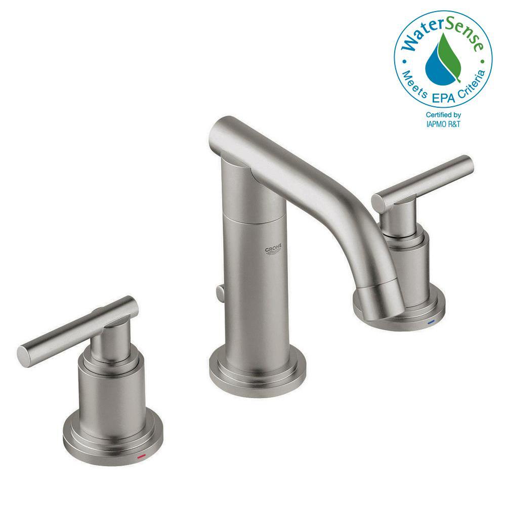 Grohe Atrio 8 In Widespread 2 Handle 1 Gpm Bathroom Faucet Brushed Nickel