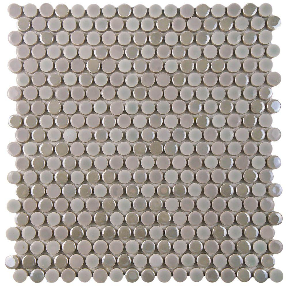 Merola Tile Galaxy Penny Round Ash 11-1/4 in. x 11-3/4 in. x 9 mm ...