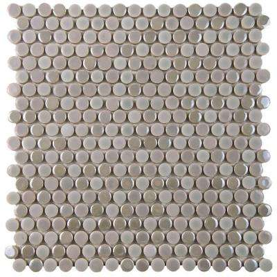 Galaxy Penny Round Ash 11-1/4 in. x 11-3/4 in. x 9 mm Porcelain Mosaic Tile