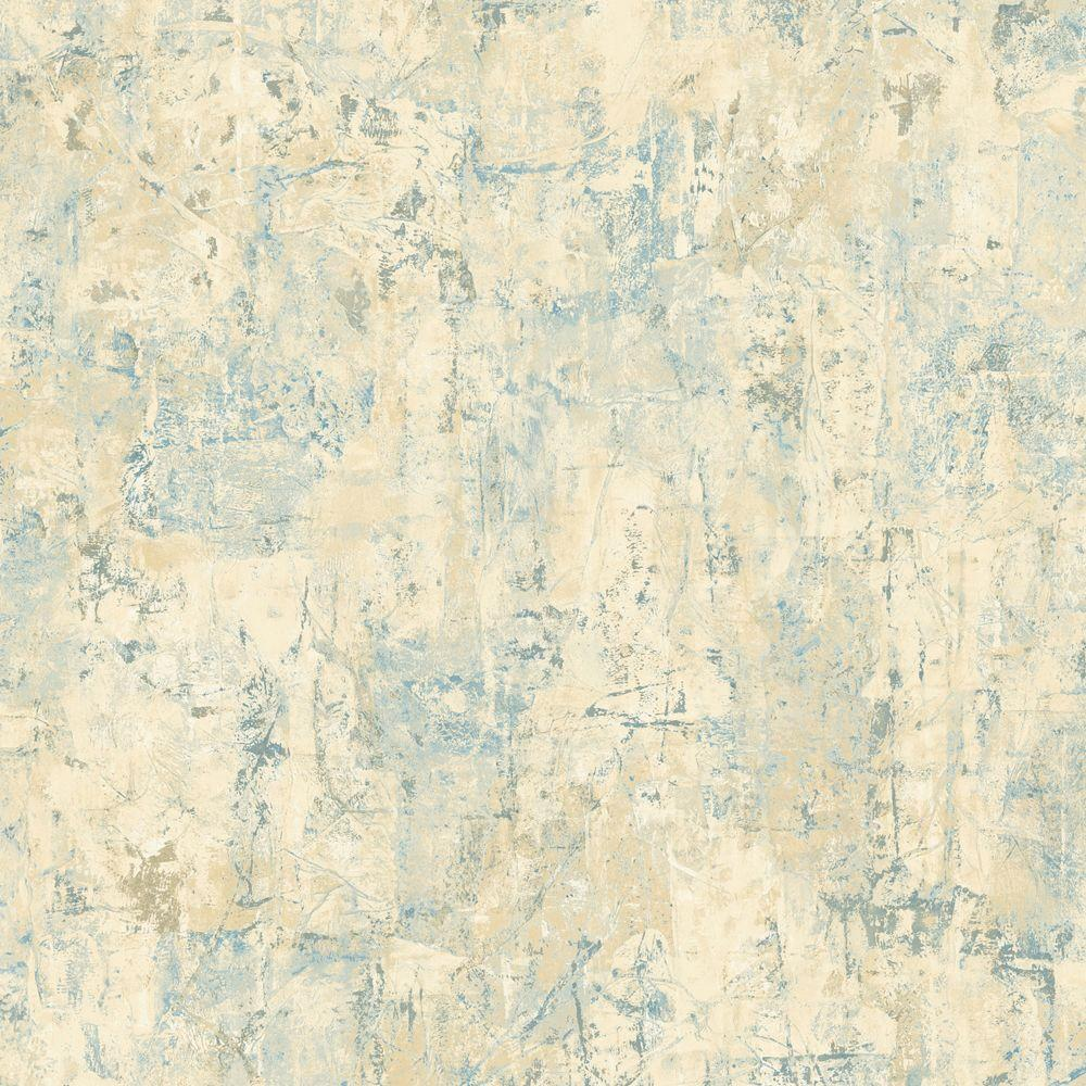 The Wallpaper Company 56 sq. ft. Blue and Beige Abstract Faux Texture Wallpaper