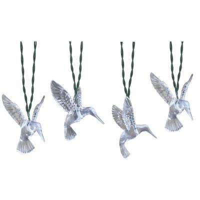 10-Light 15 ft. Solar Powered Integrated LED Clear Hummingbird String Lights