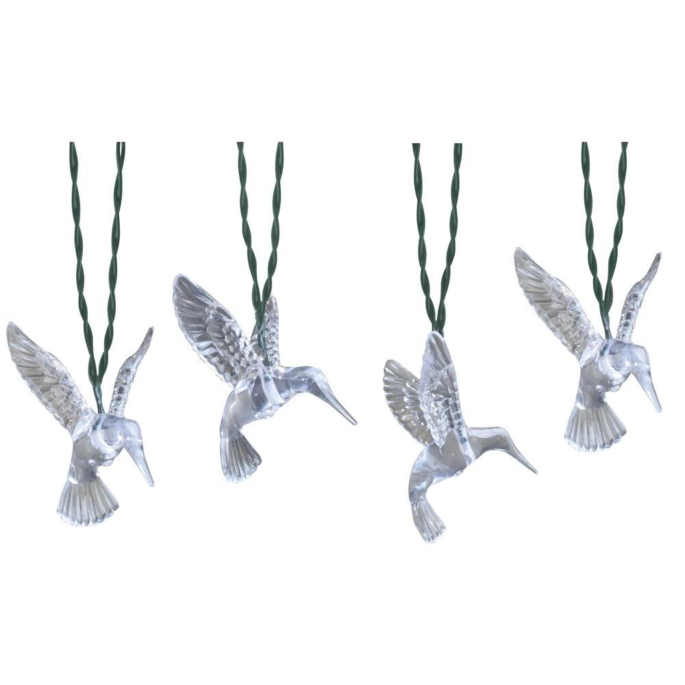 Moonrays 10-Light 15 ft. Solar Powered Integrated LED Clear Hummingbird String Lights