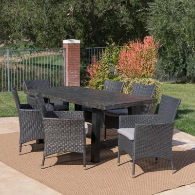 Moana Grey and Black 7-Piece Polyethylene Wicker Outdoor Dining Set with Silver Cushions