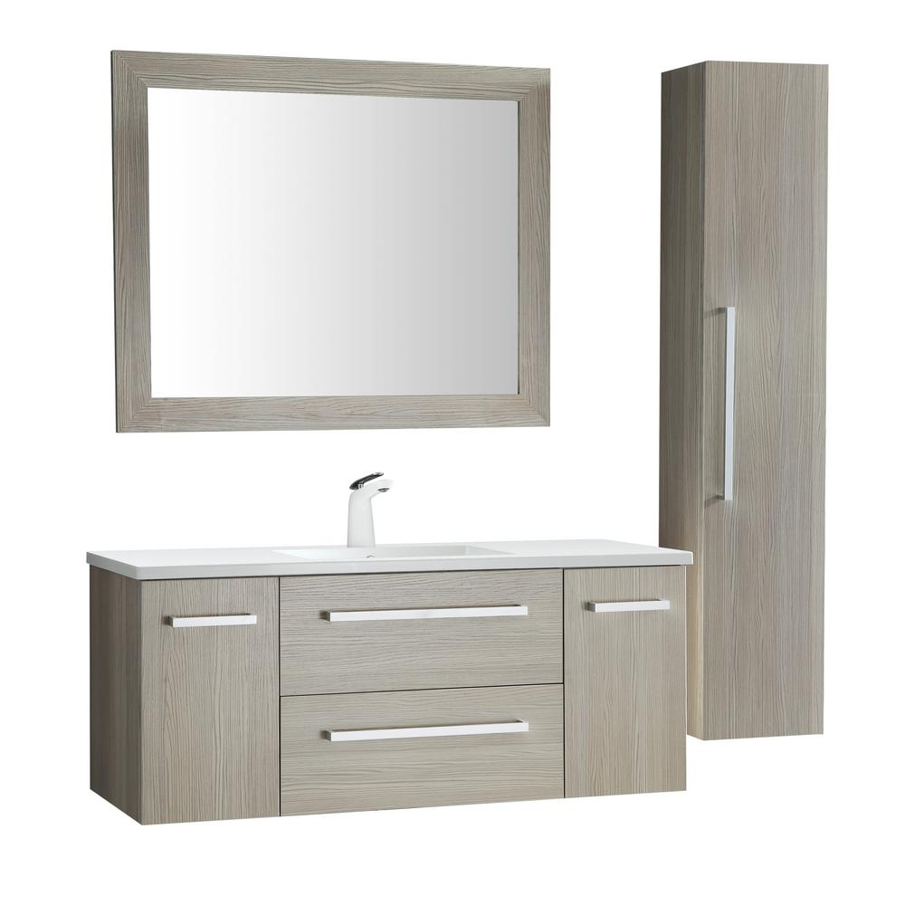 ANZZI Conques 48 in. W x 20 in. H Bath Vanity in Rich Gray with Ceramic Vanity Top in White with White Basin and Mirror