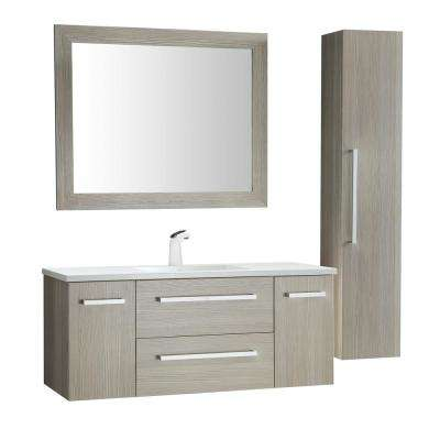Conques 48 in. W x 20 in. H Bath Vanity in Rich Gray with Ceramic Vanity Top in White with White Basin and Mirror