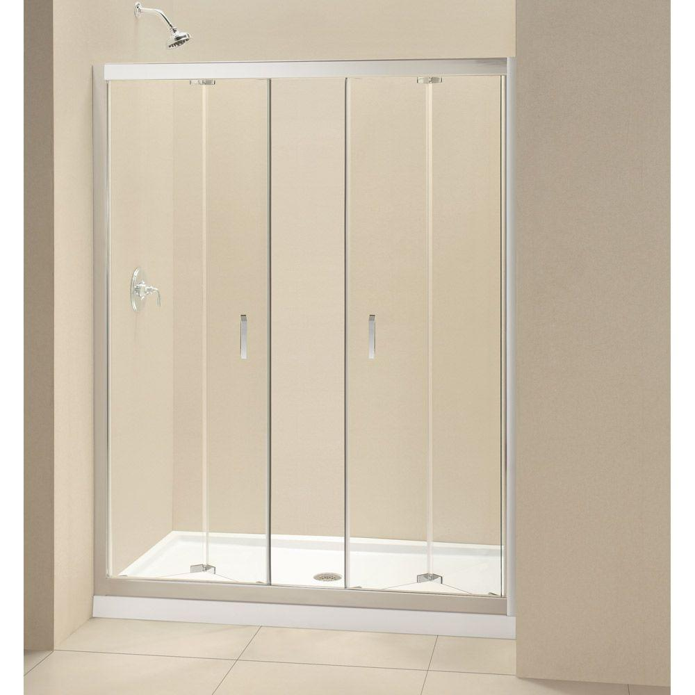 DreamLine Butterfly 30 in. x 60 in. x 74-3/4 in. Standard Fit Shower Kit with Bi-Fold Shower Door and Left Hand Drain Base