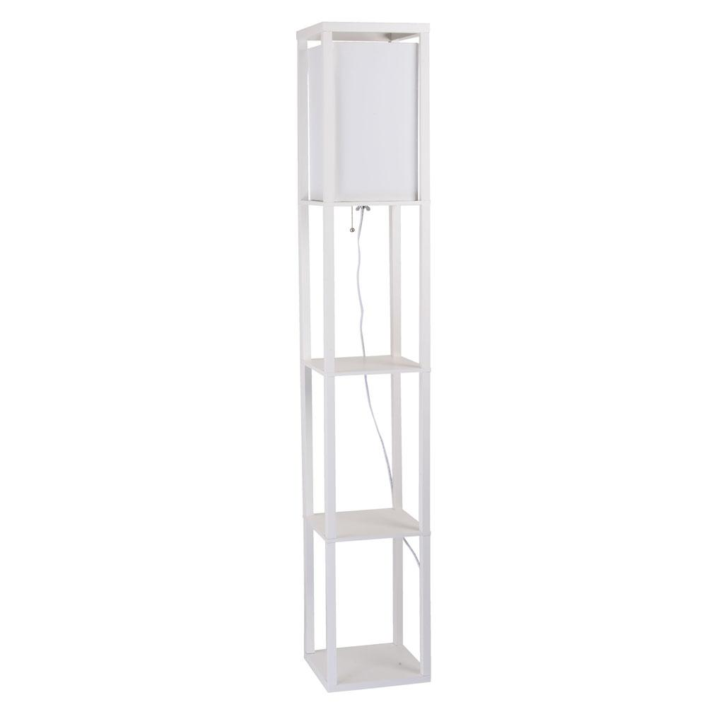 62.8 in. White Square Etagere Floor Lamp with Ivory Fabric Shade