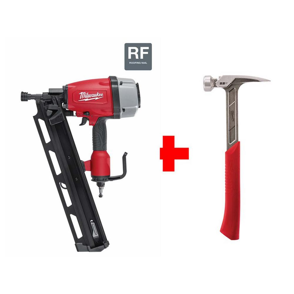 Milwaukee 3-1/2 in. Full Round Head Framing Nailer with 22 oz. Milled Face Framing Hammer
