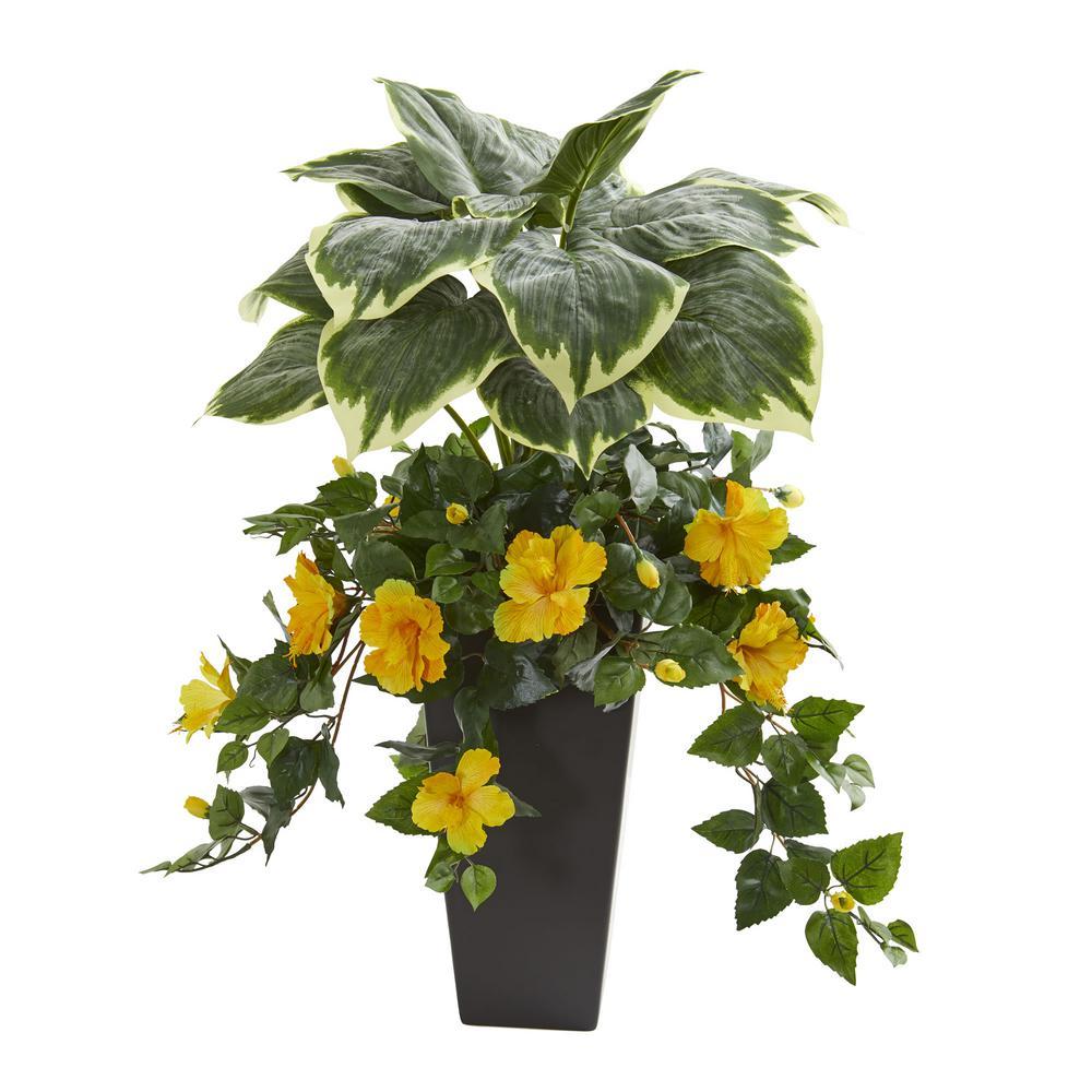 Indoor 32 In Hosta And Hibiscus Artificial Plant In Black Vase