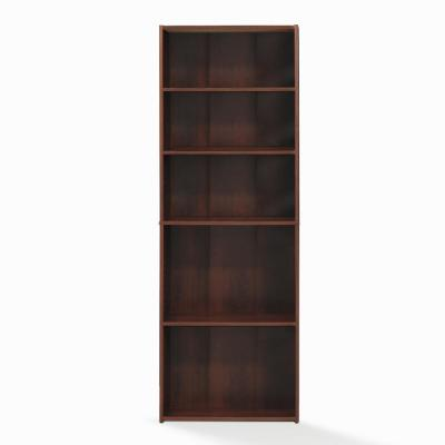 Wright 71.14 in. Brook Cherry Faux Wood 5-shelf Standard Bookcase with Adjustable Shelves