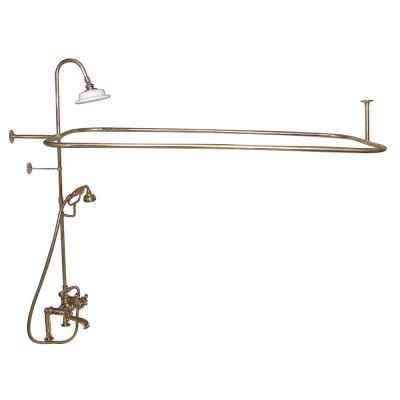 3-Handle Rim Mounted Claw Foot Tub Faucet with Riser, Hand Shower, Shower Head and Shower Rod in Polished Brass